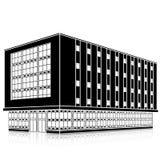 Profili l'edificio per uffici con un'entrata e una riflessione Fotografia Stock Libera da Diritti