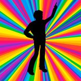 Profili l'essere umano ballante, il partito di battaglia di musica di vettore, raggio della discoteca Fotografia Stock Libera da Diritti