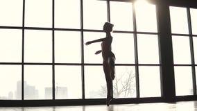 Profili la ballerina graziosa sui precedenti di grande finestra ballerino di balletto in scarpe del pointe Movimento lento stock footage