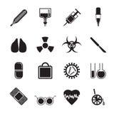 Profili la raccolta delle icone e dei avvertimento-segni di tema medici Fotografia Stock Libera da Diritti