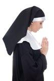 Profili la vista di giovane bello pregare della suora della donna isolato su wh Fotografia Stock Libera da Diritti