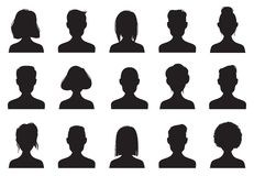 Profilikonenschattenbilder Anonyme Leute stellen Schattenbild-, Frauen- und Mannhauptavataraikone gegenüber Männliche oder weibli lizenzfreie abbildung