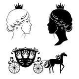 Profilkontur av en prinsessa och en vagn royaltyfri illustrationer