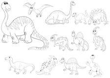 Profilo animale per i tipi differenti di dinosauri Fotografia Stock