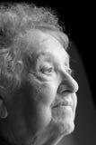 Profilo anziano della donna Fotografie Stock Libere da Diritti