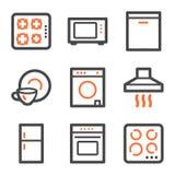 Profilo arancione e grigio delle icone di Web degli elettrodomestici, illustrazione di stock