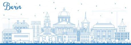 Profilo Bern Switzerland City Skyline con le costruzioni blu Immagine Stock Libera da Diritti