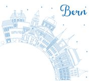 Profilo Bern Switzerland City Skyline con le costruzioni blu ed il Co Fotografie Stock