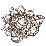 Profilo in bianco e nero dell'orologio da tasca leggiadramente di uno schizzo E illustrazione vettoriale