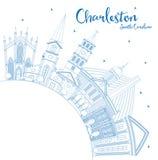 Profilo Charleston South Carolina City Skyline con Buildin blu illustrazione vettoriale