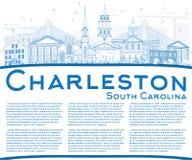 Profilo Charleston South Carolina Skyline con le costruzioni blu illustrazione vettoriale