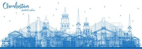 Profilo Charleston South Carolina Skyline con le costruzioni blu illustrazione di stock