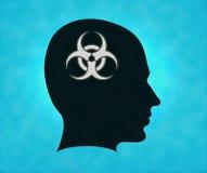 Profilo con il simbolo di rischio biologico Fotografie Stock Libere da Diritti