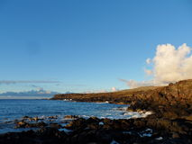Profilo costiero dell'isola di pasqua Immagini Stock
