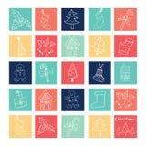 Profilo degli elementi delle icone di scarabocchio di Buon Natale illustrazione di stock