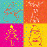Profilo degli elementi di Art Merry Christmas di schiocco Fotografie Stock