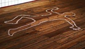 Profilo del corpo sul pavimento Fotografia Stock Libera da Diritti