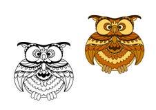 Profilo del fumetto ed uccello del gufo di marrone Fotografia Stock Libera da Diritti