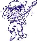 Profilo del giocatore di chitarra di musica del fumetto fotografie stock