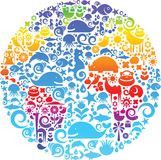 Profilo del globo fatto dagli uccelli, dagli animali e dai fiori Fotografia Stock