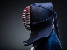 Profilo del kendoka in uomini Immagini Stock Libere da Diritti