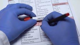 Profilo del lipido, medico che controlla malattia nello spazio in bianco del laboratorio, mostrante campione di sangue archivi video