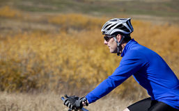 Profilo del motociclista della montagna Fotografia Stock