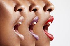 Profilo del ` s della donna con la bocca aperta fotografia stock libera da diritti