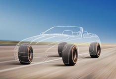 Profilo dell'automobile sulla strada Immagini Stock Libere da Diritti