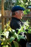 Profilo dell'uomo che si siede nel giardino Fotografia Stock