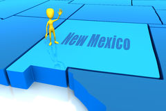 Profilo della condizione del New Mexico con la figura gialla del bastone Immagini Stock Libere da Diritti