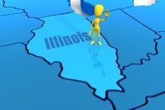 Profilo della condizione dell'Illinois con la figura gialla del bastone Fotografia Stock