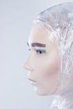 Profilo della donna graziosa misterous avvolta dentro Fotografie Stock