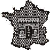 Profilo della Francia con Arc de Triomphe Fotografia Stock