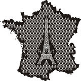 Profilo della Francia con la Torre Eiffel Fotografia Stock
