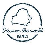 Profilo della mappa della Bielorussia L'annata scopre il mondo Fotografia Stock
