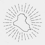 Profilo della mappa dell'Irak di vettore con il retro sprazzo di sole Fotografie Stock Libere da Diritti