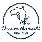 Profilo della mappa dell'isola di Bintan annata Fotografia Stock Libera da Diritti