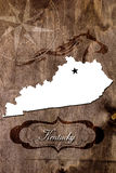 Profilo della mappa dello stato del Kentucky del manifesto Fotografie Stock Libere da Diritti