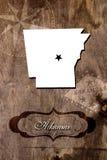 Profilo della mappa dello stato dell'Arkansas del manifesto Fotografia Stock Libera da Diritti
