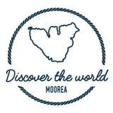 Profilo della mappa di Moorea L'annata scopre il mondo Fotografie Stock Libere da Diritti