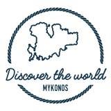 Profilo della mappa di Mykonos L'annata scopre il mondo Fotografia Stock