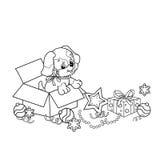 Profilo della pagina di coloritura del cucciolo del fumetto L'anno del cane Natale Nuovo anno Fotografia Stock