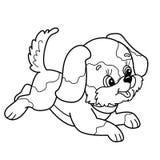 Profilo della pagina di coloritura del cucciolo sveglio Salto allegro del cane del fumetto Immagini Stock