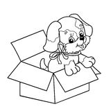 Profilo della pagina di coloritura del cucciolo sveglio in scatola Cane del fumetto con l'arco Immagine Stock