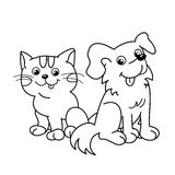 Profilo della pagina di coloritura del gatto del fumetto con il cane pets Libro da colorare per i bambini illustrazione di stock
