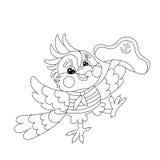 Profilo della pagina di coloritura del marinaio allegro del pappagallo Fotografia Stock