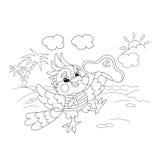 Profilo della pagina di coloritura del marinaio allegro del pappagallo sull'isola Fotografia Stock