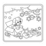 Profilo della pagina di coloritura dell'albero di Natale con gli ornamenti ed i regali con il cucciolo Immagine Stock Libera da Diritti