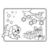 Profilo della pagina di coloritura dell'albero di Natale con gli ornamenti ed i regali con il cucciolo Fotografia Stock